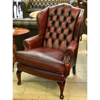 cc201 Queen Anne Wing Chair - antique red