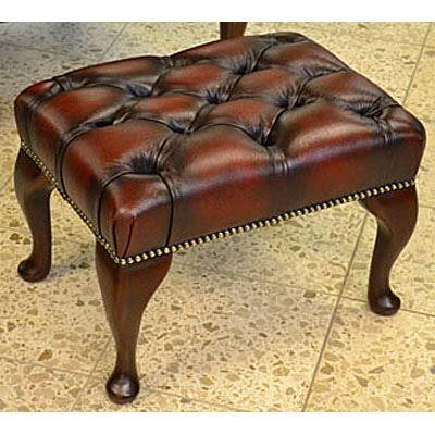 cc205a Queen Anne Footstool - red
