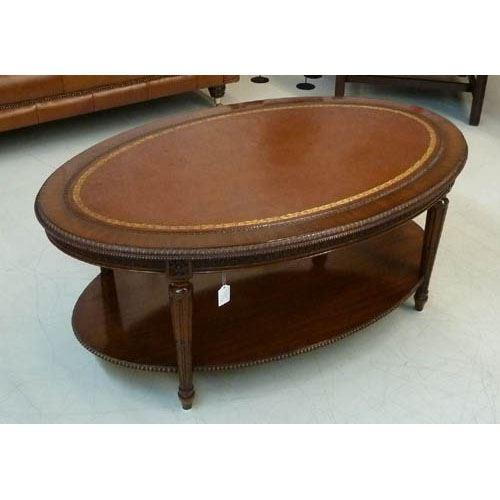 Oval Coffee Table -Large - Lederplatte